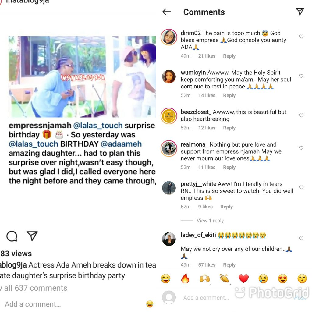 Nigerians React To Ada Ameh Breaking Down In Tears At Her Late Daughter's Surprise Birthday Party