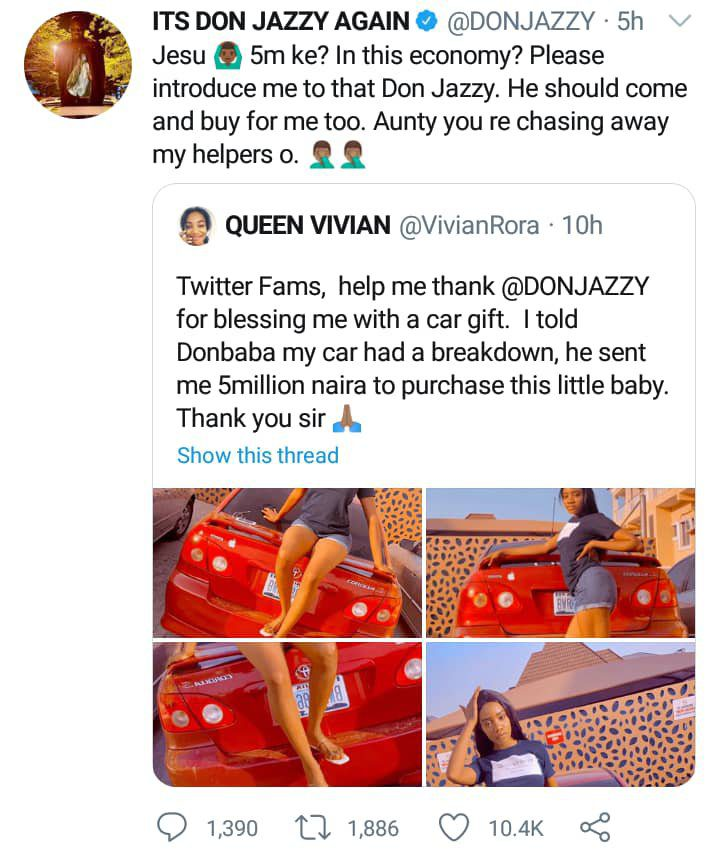 Don Jazzy reacts after clout chaser claimed on Twitter that he gifted her a car worth ₦5Million