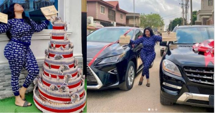 Actress Biodun Okeowo, Omobutty Confused As She Orders For One Car & Gets Two On Her Birthday (Photos)