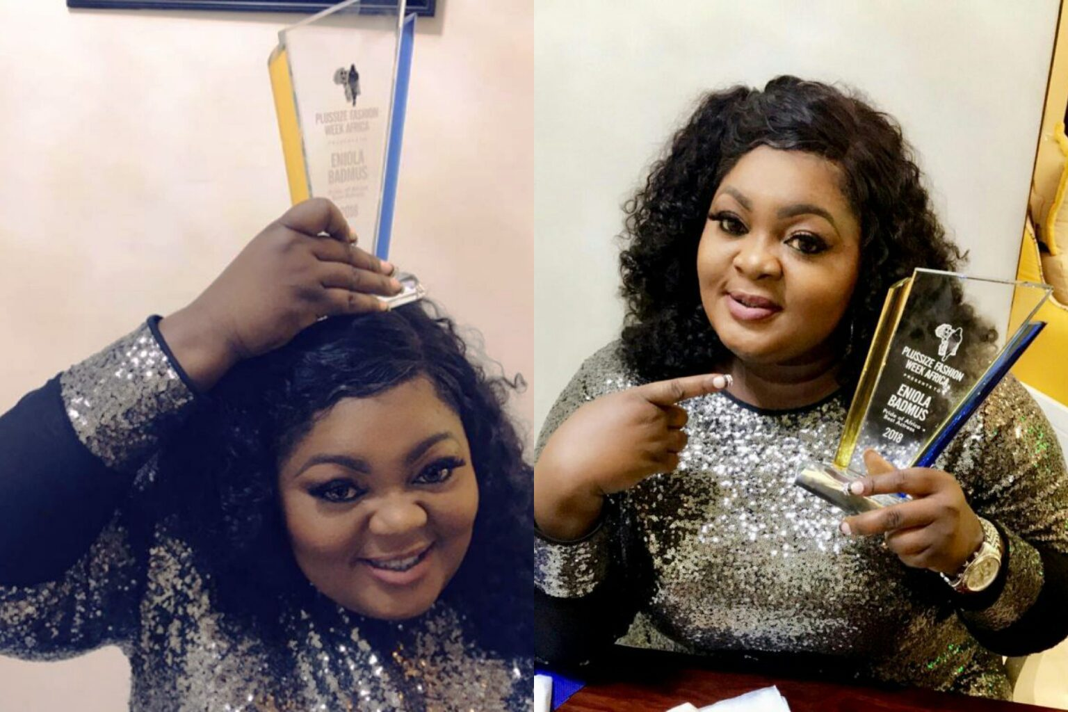 Eniola Badmus Wins Best Actress Award At Plus Size Fashion Week Africa