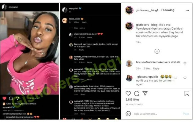 'You are fake, yet you laugh with Chioma' Nigerians drags Davido cousin over her comment on Mya Yafai's page