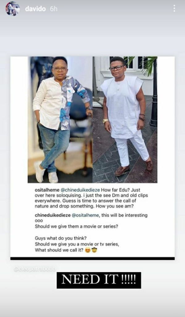 Davido Reacts As Aki And Pawpaw Is Set To Return To The Screens With A Movie