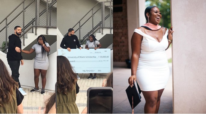 """Lady who got scholarship from Drake in """"God's Plan"""" music video bags Master's degree"""